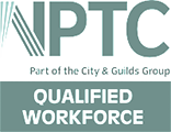 NPTC qualified workforce logo, NPTC part of the City & Guilds group